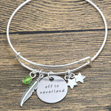 PETER PAN TINKERBELL OFF TO NEVERLAND CHARMS BANGLE BRACELET IN GIFT BAG