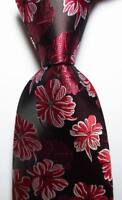 New Classic Floral Black Red White JACQUARD WOVEN 100% Silk Men's Tie Necktie