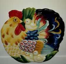 New ListingFitz and Floyd Rooster Ricamo Snack Plate