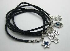 100 Mixed Kabbalah Hamsa Hand Charms Black Leatheroid Braided String Bracelets