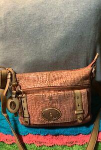 Fossil Peach Snake Print Leather ZipCredit Card Shoulder Bag Crossbody Messenger