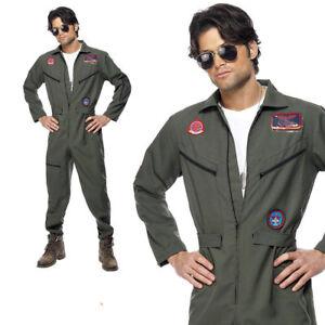 Mens Top Gun Pete Mitchell Pilot Costume Adult Aviator Jumpsuit Plus Fancy Dress