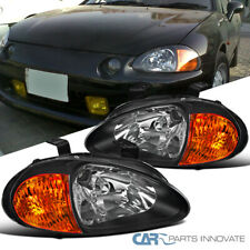 For 93-97 Honda Civic del Sol Black Headlights Head Lights Lamps Left+Right