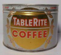 Vintage 50s TABLE RITE COFFEE GRAPHIC KEYWIND COFFEE TIN 1 POUND TORONTO CANADA