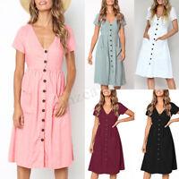 UK 8-24 Women Short Sleeve V Neck Front Buttons Party Evening Club Skirt Dress