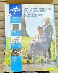 """Medline Ultralight Transport Wheelchair with 19"""" Wide Seat, Folding chair"""