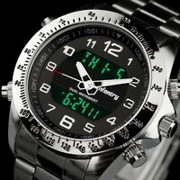 INFANTRY Mens Digital Quartz Wrist Watch Chronograph Army Sport Stainless Steel