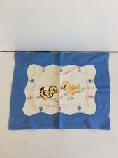 Vintage Embroidered Quilt Topper and Pillow Sham, Blue, Puppy and Ducks