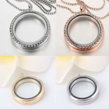 18K White Gold Filled for Floating Charms Memory living Locket Necklace Pendant