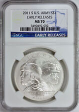 2011-S U.S. ARMY SILVER $1 BLUE EARLY RELEASES NGC MS70