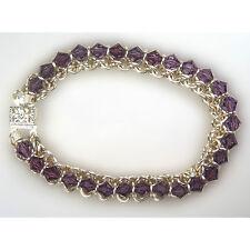Silver Chain Maille Designer Bracelet-Austrian Crystals