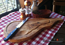 Servierbrett + Griff Steakbrett Schneidebrett mit Saftrille Olivenholz Holz 50cm