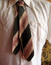 TRUE VTG 40s  WARDLOOP PINK/GREEN SHADOW STRIPE DECO NECKTIE neck tie