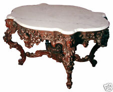 """Rare Alexander Roux 57"""" Carved Rosewood Marble Top Center Table #5480"""
