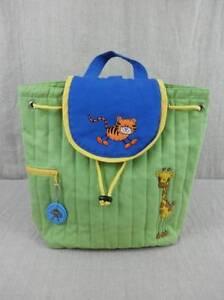 Stephen Joseph Childrens Backpack Green Blue Quilted Cotton Giraffe Tiger Monkey