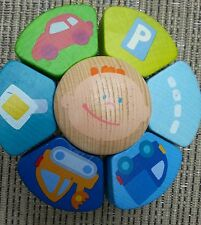 Haba baby rattle teether coloful fun wooden transportation happy baby movable