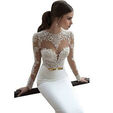 Ok Dress Long Sleeve Lace Wedding Prom Dresses Backless Bridal Gowns - Size 16