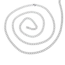2M Stainless Steel Cuban Curb Link Chain For Necklace Silver Tone 6x4.5mm