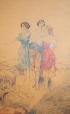 Antique European pencil and pastels painting portrait
