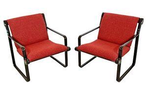 1970s Mid-Century Modern Sling Lounge Armchairs Hannah & Morrison Knoll - A Pair