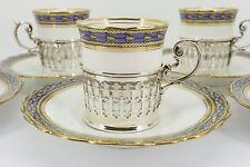 Set of 6 Aynsley Deco Coffee Cans Cups with Silver Holder Birmingham 1926. NICE1