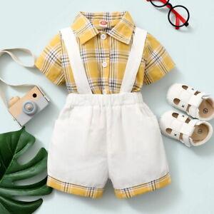 Newborn Baby Boy Plaid Gentleman Shirt Suspenders Short Dungarees Outfits Sets