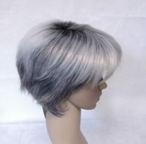 Short Straight Grey Ombre w/ Black Roots Heat Ok Full Synthetic Wig - 9566