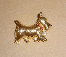 Cute Gold Tone Scottie Dog Pin w/ Rhinestone Accents by Napier Jewelry