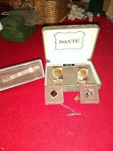 Tiger Eye Dante Cuff Links with Tie Tack and Tie Clasp 3 Piece Set
