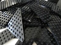 LEGO 12 Platten SCHWARZ dünn beidseitig bebaubar Sonderform rechteckig Konvolut