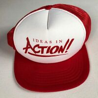 Ideas In Action Snapback Hat VTG Cap Foam Front Red White Trucker Mens One Size
