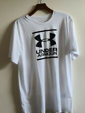 Men's under armour tshirt white XL. big logo. heat gear.