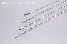 """14K oro blanco sólido eslabón cubano Cadena Collar 1.5-4mm para hombres Para mujeres talla 16"""" -36"""""""