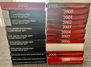 1999 To 2019 Silver US Proof Set Lot (21 Total) w/ COA