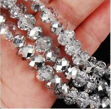C Hot 8 mm 35 pcs Faceted Rondelle Bicone Crystal Jewelry Beads AB Silver@@