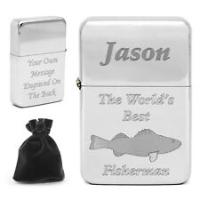 Personalised World's Best Fisherman Lighter Fishing Angling Anglers Smokers Gift