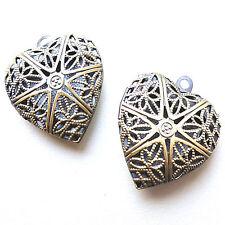 2 Antique Bronze Tone Heart Shaped Locket Pendant Charms 22mm