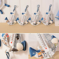 Wood Wall Anchor Hanging Starfish Hook Boat Decor Door Rack With Thermometer
