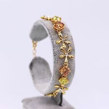 Exquisite Flower Multi-Color Zircon Bracelet Bangle 18k Gold Plated Bracelet