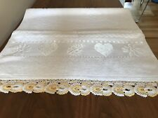 """NEW  Hand Towel - Turkish Cotton - White with Lace Work Edges - 19.5""""x 35"""""""