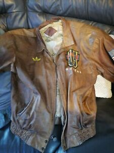 Rare vintage adidas american distressed leather mens jacket size large