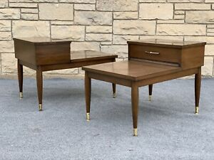 Pair of Mid Century Modern Mersman Wood & Formica 2 Tier End Tables - 8202