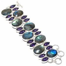 "Labradorite, Amethyst Gemstone Handmade 925 Sterling Silver Bracelet 7-9"""