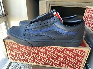 Vans Leather Pop Old Skool Shoes Men 10.5 WMN 12 Black/Dress Blue, ShipFast NEW