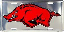 Arkansas Razorbacks Chrome Metal License Plate Auto Tag Sign