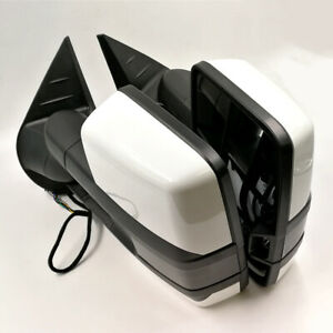 For 14-18 Silverado Painted White Side Tow Mirror Power Heated Smoked LED Signal