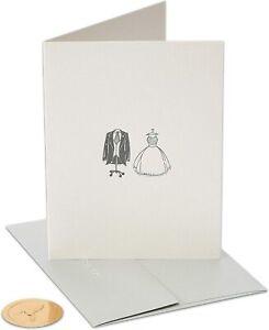 Letterpress Papyrus Wedding Card - Wedding Gown & Tuxedo Suit in Black & Glitter