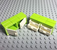 Lego New Lime Green Cupboard Container With Doors / Drawers / Bedroom Furniture