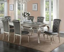 ZEYNA 7PC PLATINUM SILVER FINISH WOOD GLASS DINING TABLE SET GRAY LEATHER CHAIRS