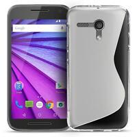Handy Hülle Motorola Moto G2 Slim Case Silikon Cover Schutz Tasche Transparent